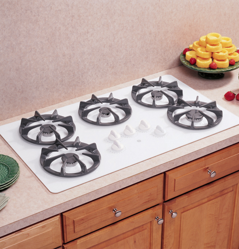 white gas cooktop