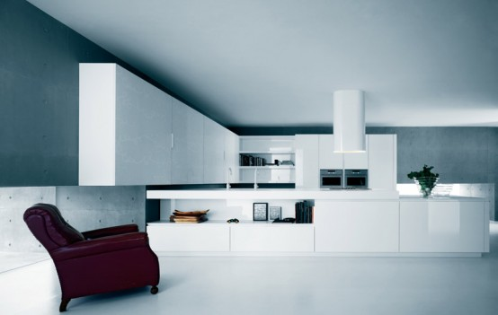 White Kitchen Cabinets And Island