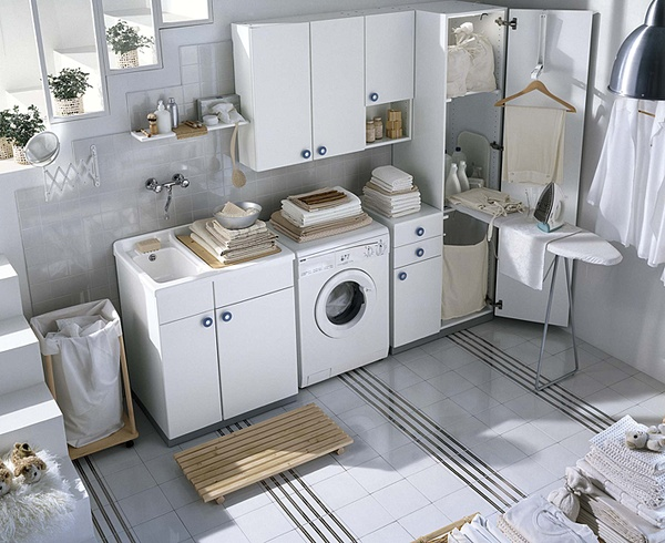 White and colored laundry room cabinets from idea group Laundry room design