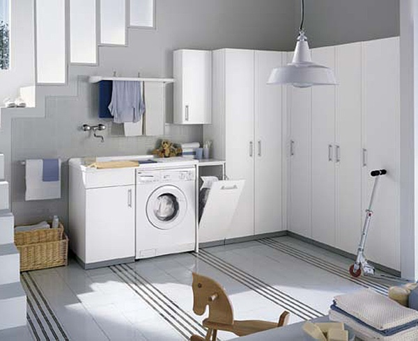 White and colored laundry room cabinets from idea group Design a laundr room laout