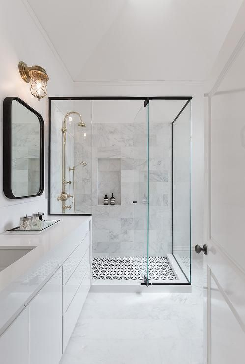 Elegant white marbelized basement bathroom