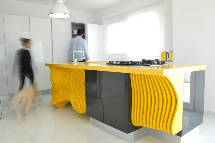 White Minimalist Kitchen With A Sculptural Yellow Kitchen
