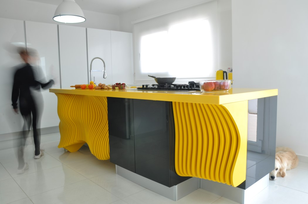 Picture Of white minimalist kitchen with a sculptural yellow island  3