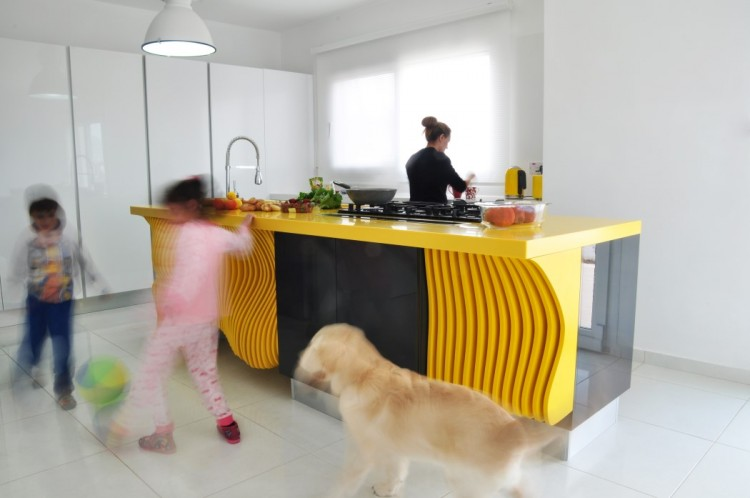 White Minimalist Kitchen With A Sculptural Yellow Kitchen