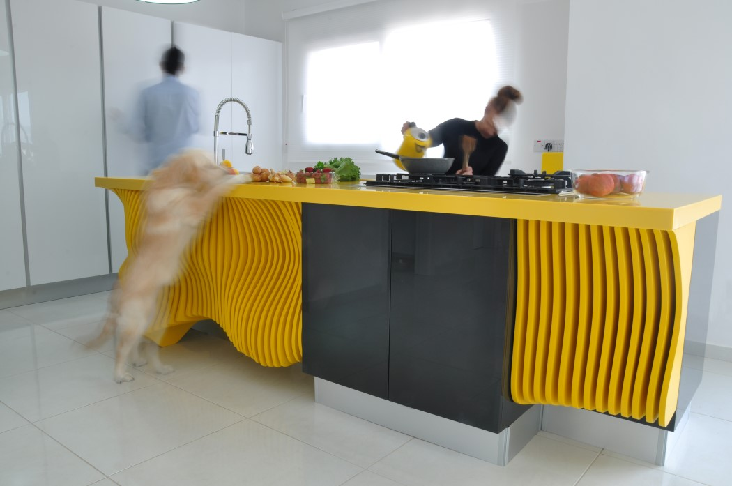 Picture Of white minimalist kitchen with a sculptural yellow island  5