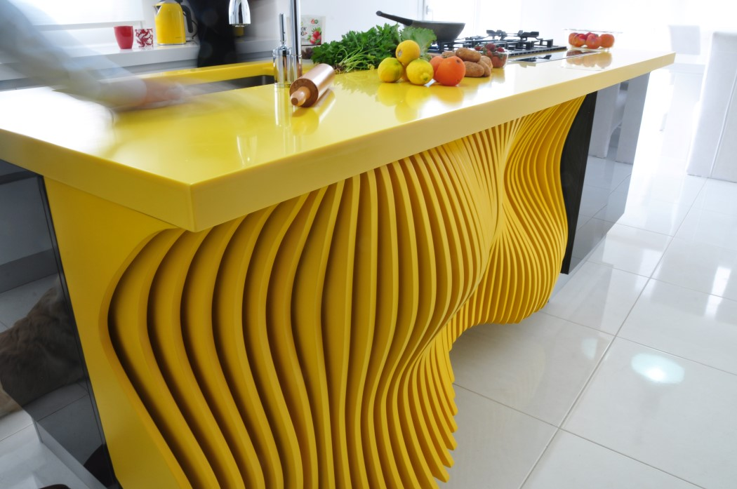 Picture Of white minimalist kitchen with a sculptural yellow island  6