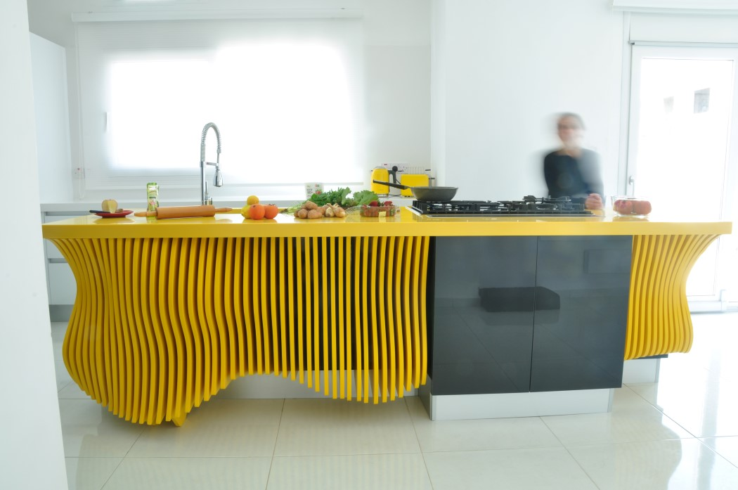 Picture Of white minimalist kitchen with a sculptural yellow island  7