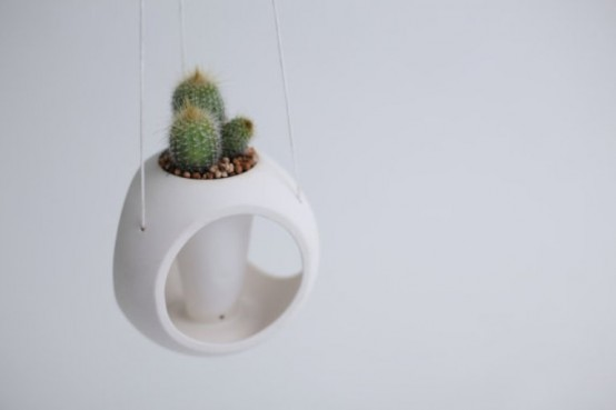White Minimalist Planter Of Spheric Shape