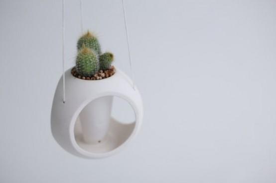 White Minimalist Planter Of Spheric Shape