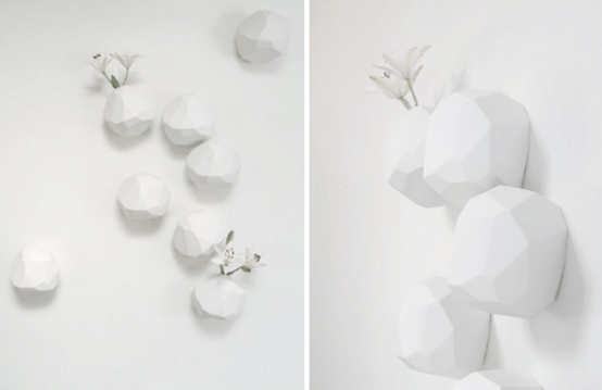 White Minimalist Vases Of Sculptural Shapes