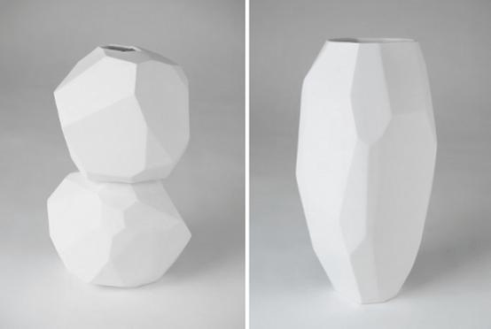 White Minimalist Vases Of Sculptural Shapes