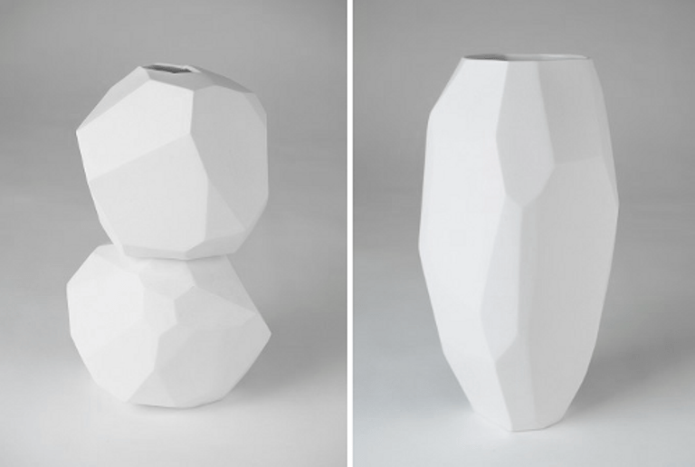 white minimalist vases of sculptural shapes digsdigs. Black Bedroom Furniture Sets. Home Design Ideas