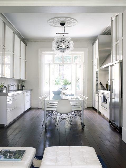White On White Kitchen Dining Room