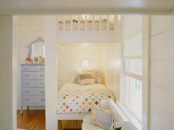 White Wood Shared Kids Bedroom