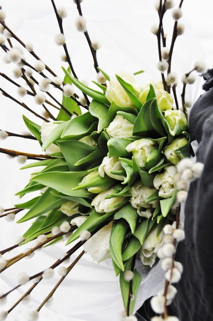 a white tulip and willow arrangement is a great spring centerpiece or just home decoration to rock