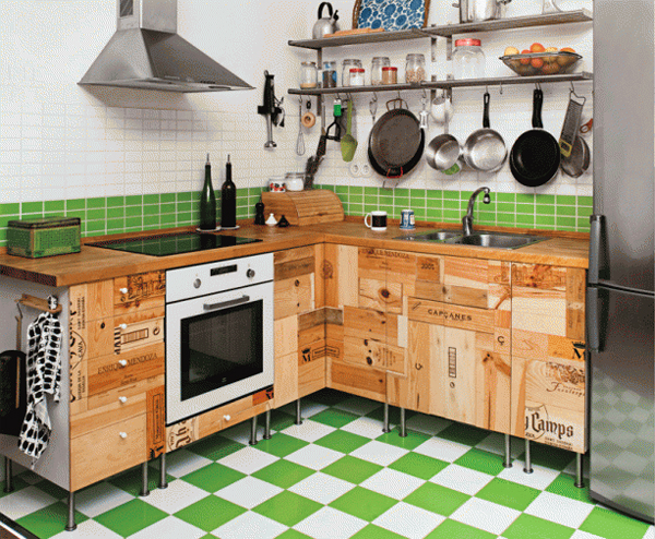 Kitchen Cabinets Inspired by Wine Crates