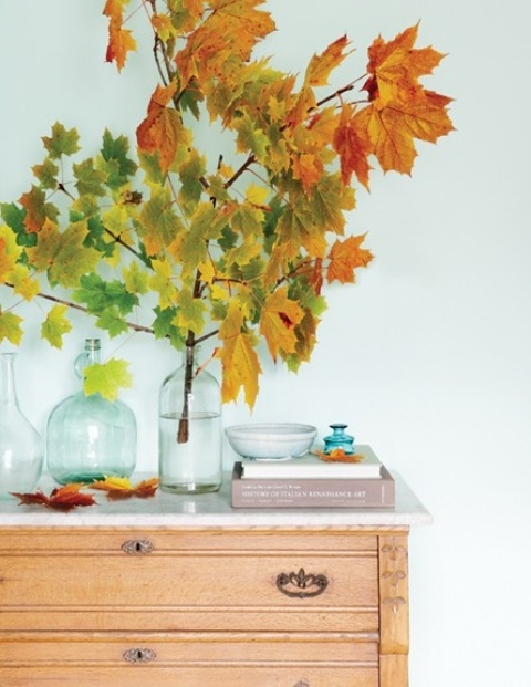 a simple arrangement of branches with bright fall leaves in a clear jar is a cool decoraiton for any modern space