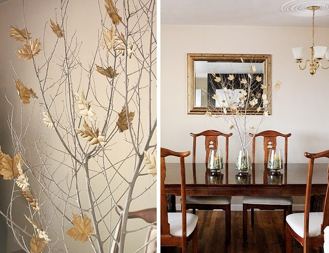 whitewashed branches with neutral fake leaves will complete your neutral space addign a fall touch to it