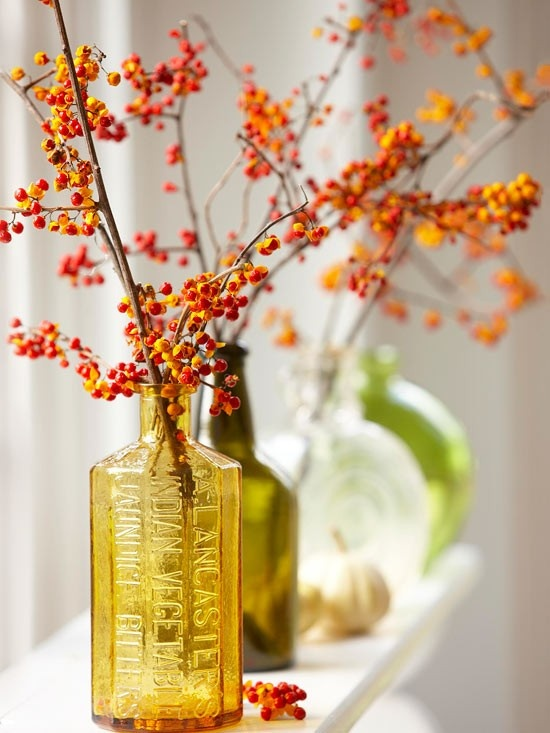 branches with bright red berries put into fall colored bottles and vases will easily add a fall feel to any space
