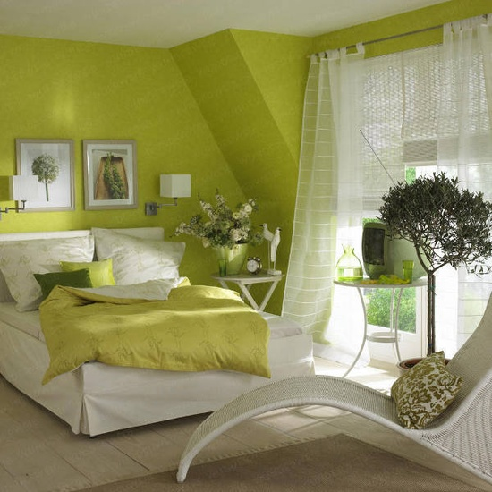 a neon green bedroom refreshed with white looks springy and summer-like itself