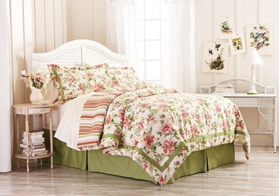 a bright floral and striped bedding, bright spring artworks make the space fresh and bright for spring