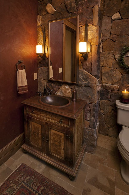 50 wonderful stone bathroom designs digsdigs for Rustic tile bathroom ideas