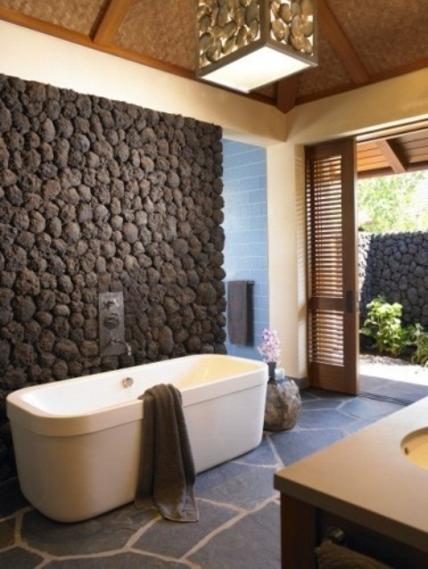 50 Wonderful Stone Bathroom Designs - DigsDigs
