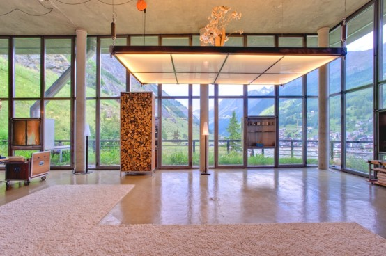 Wood And Concrete Chalet In The Swiss Alps