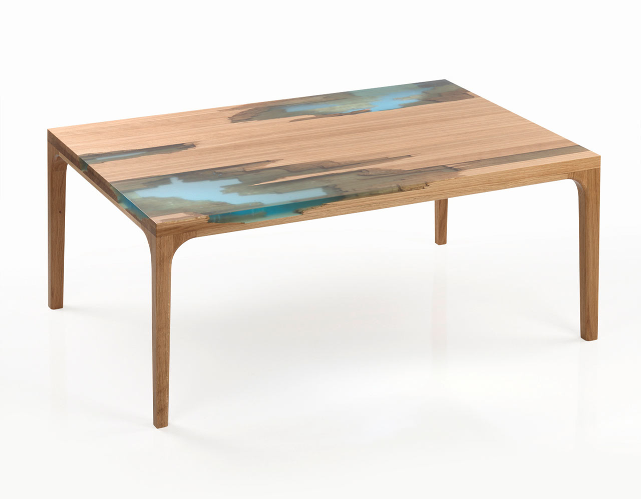 Wood and resin furniture inspired by self healing trees for Wooden furniture