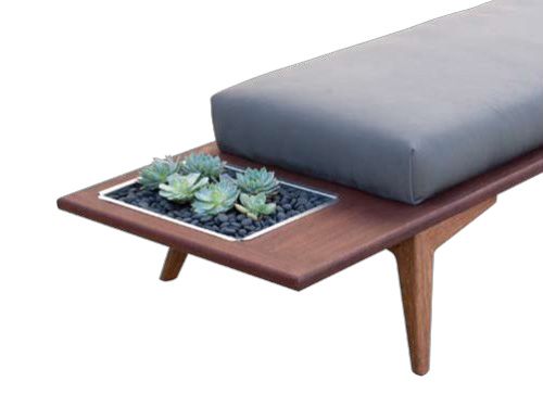 Wood Bench with Planter Brings Outdoors Into The Living Space