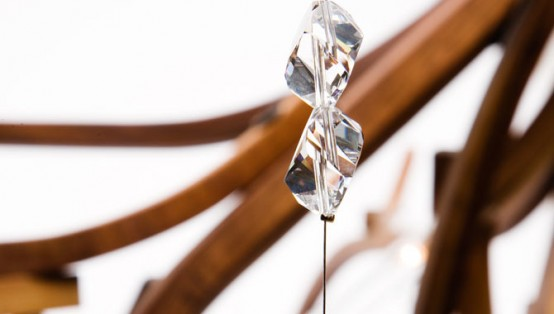 Wood Chandelier With Crystals