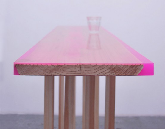 Contemporary Low Table With 8 Legs Covered With Epoxy Resin