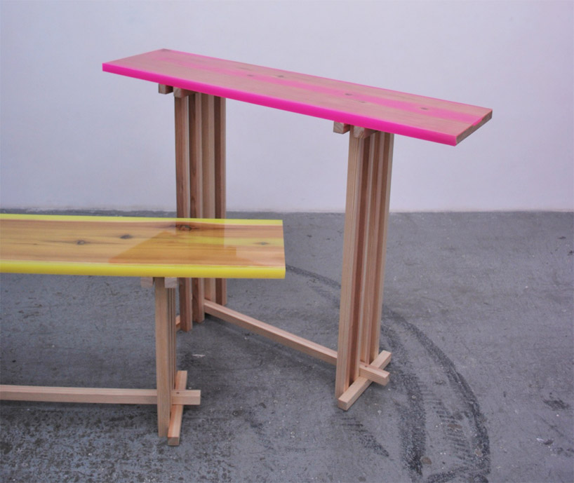 Wood Table Covered With Epoxy