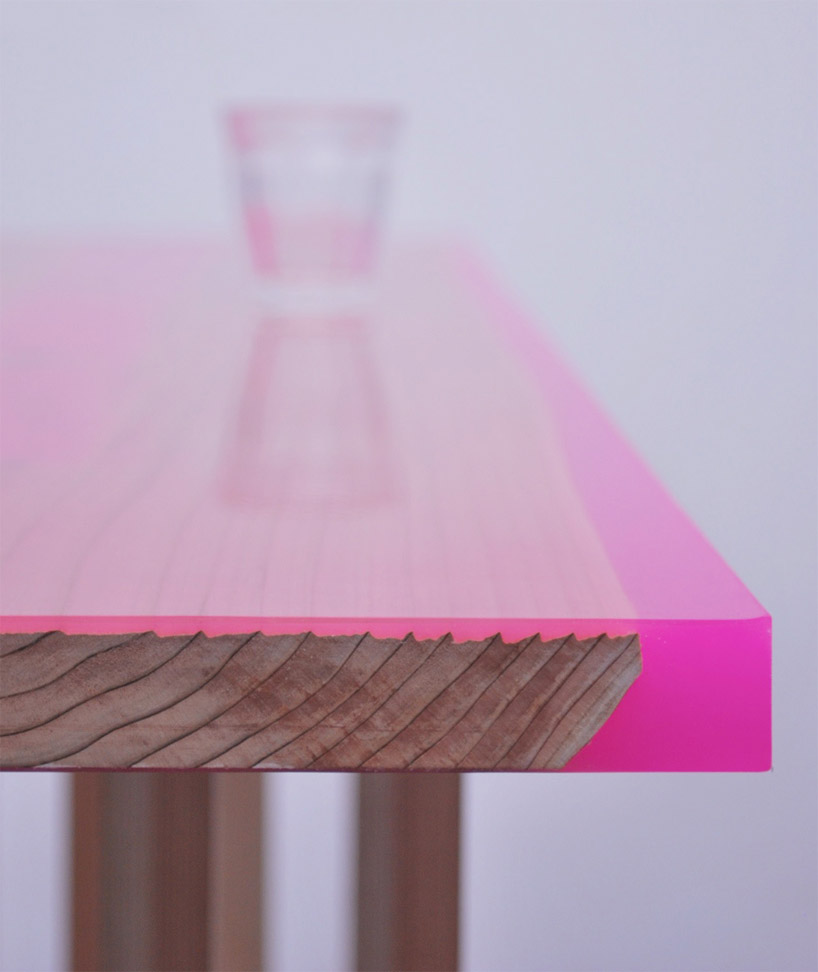Contemporary low table with 8 legs covered with epoxy for Contemporary table