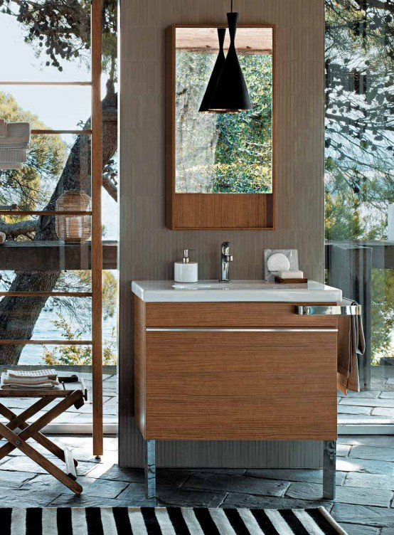 Wooden Batroom Cabinets And Oval Ceramics