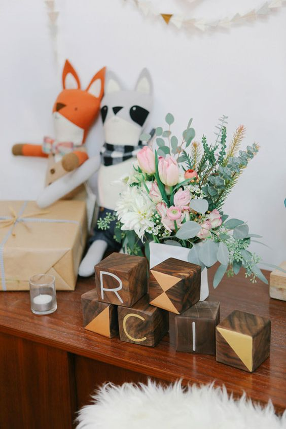 wooden block decor for a modern baby shower