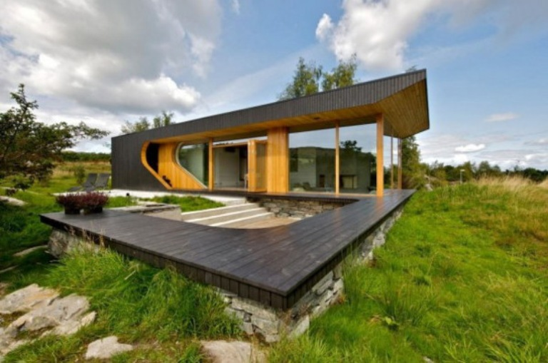 Modern Wooden Cabin With Folding Glass Walls