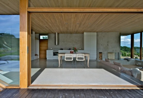 Wooden Cabin With Folding Glass Doors