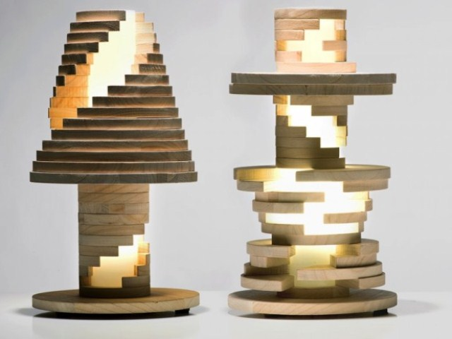 Wooden Construction Set And Lamp In One