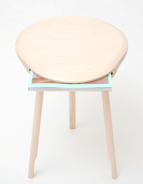Wooden Stool With A Gaping Mouth For A Magazine