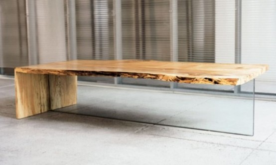 Contemporary Coffee Table Of Rustic Wood