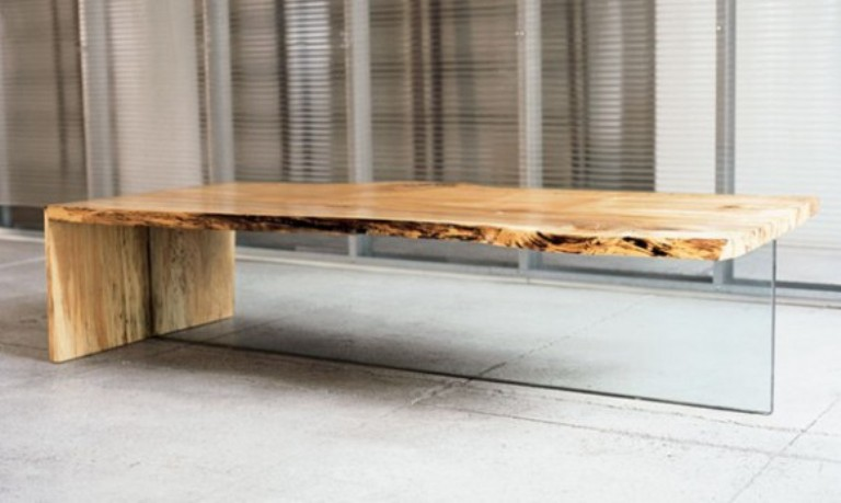 Rustic Wood and Glass Coffee Tables
