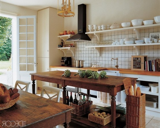 28 Vintage Wooden Kitchen Island Designs - DigsDigs