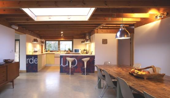 wooden weekend retreat dining room