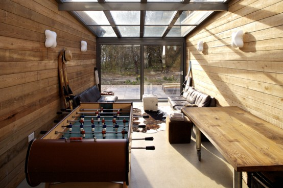 wooden weekend retreat game room