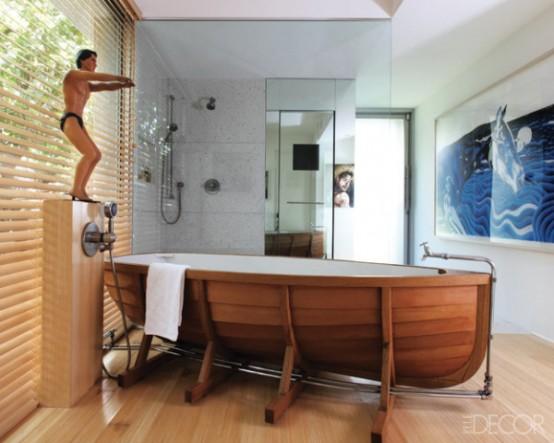Work Of Art Bathroom With An Unusual Bathtub
