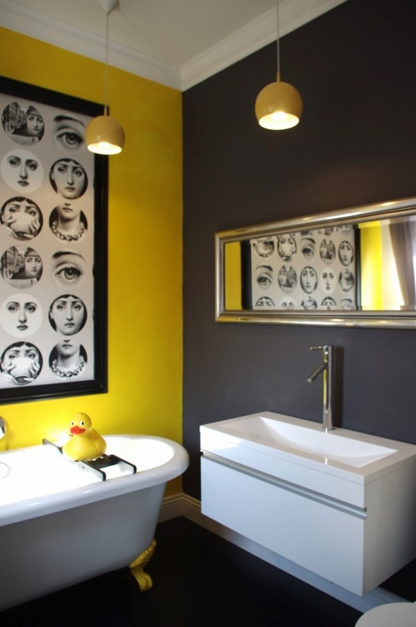 37 sunny yellow bathroom design ideas digsdigs for Bathroom ideas yellow