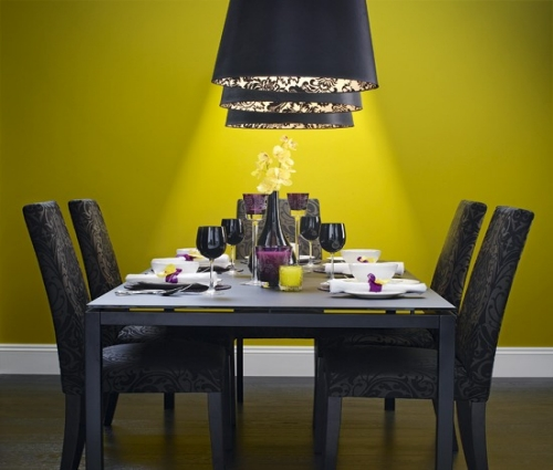 Yellow Black Dining Area