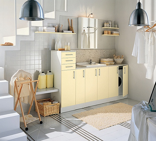 Yellow Laundry Room Design