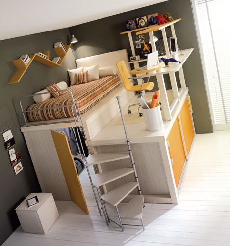 yellow loft teenage bedroom. 10 Smart Solution for Small Rooms. Clever small room ideas, small room layout. Room with bed, office and wardrobe